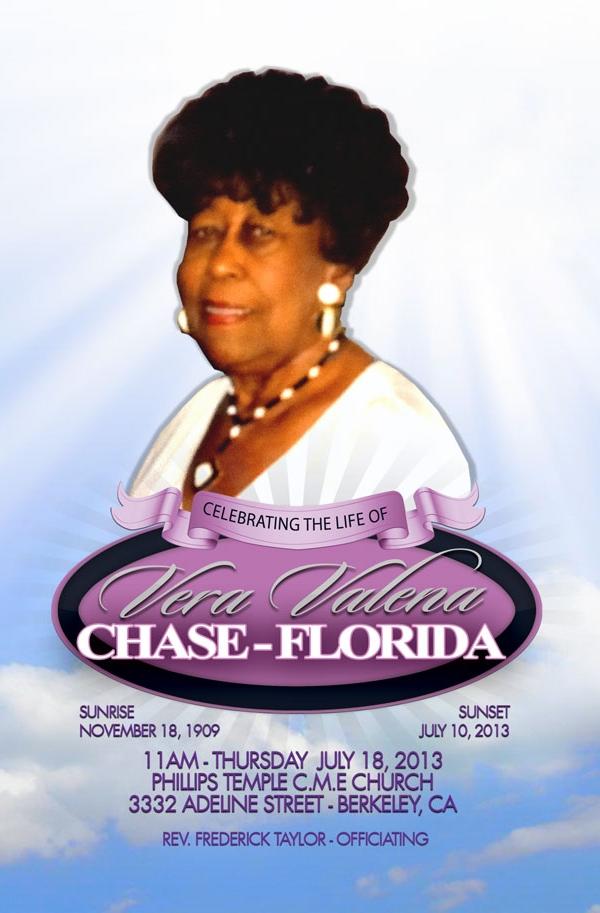 Vera Valena Chase-Florida OBITUARY 11-18-1909 to 7-10-2013