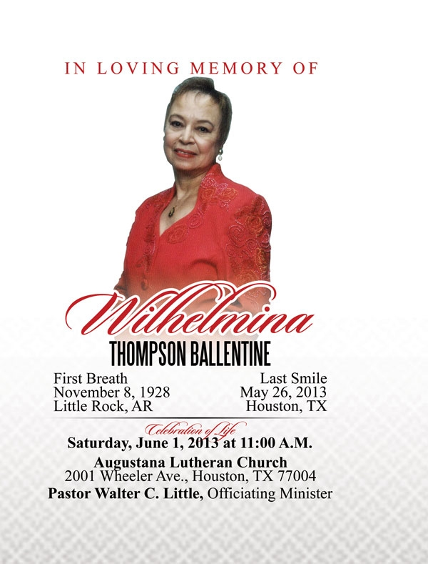 Wilhelmina Thompson Ballentine OBITUARY 11-8-1928 to 5-26-2013