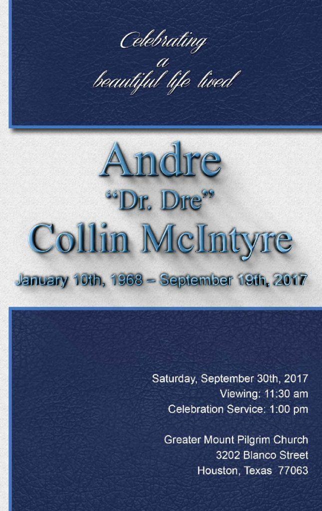 Andre Collin McIntyre Obituary