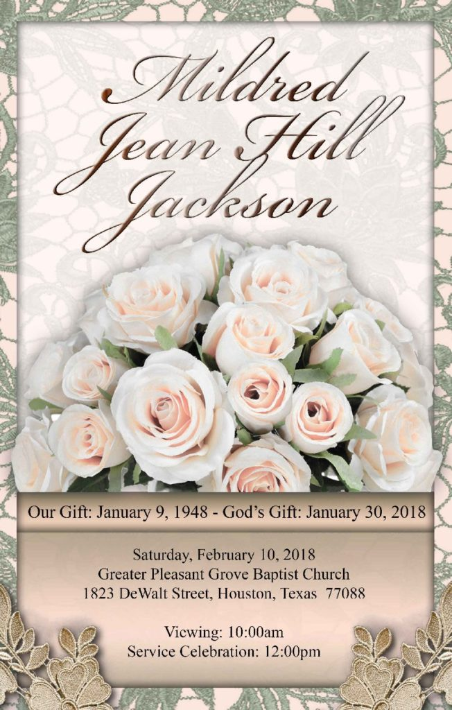 Mildred Jean Hill Jackson 1948-2018