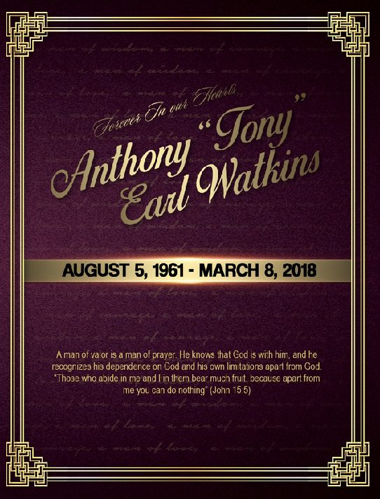 Anthony Earl Watkins 1961-2018