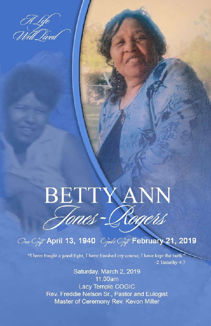 Betty Ann Jones Rogers 1940-2019