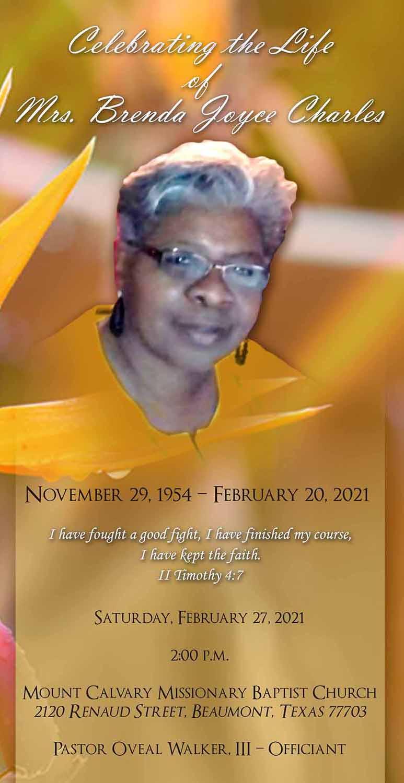 Brenda Joyce Charles 1954 – 2021