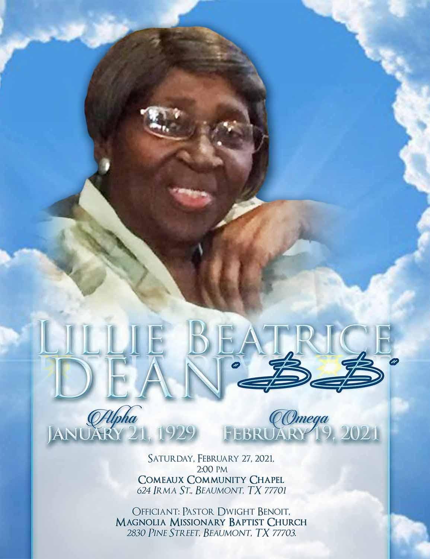 Lillie Beatrice Dean 1929 – 2021