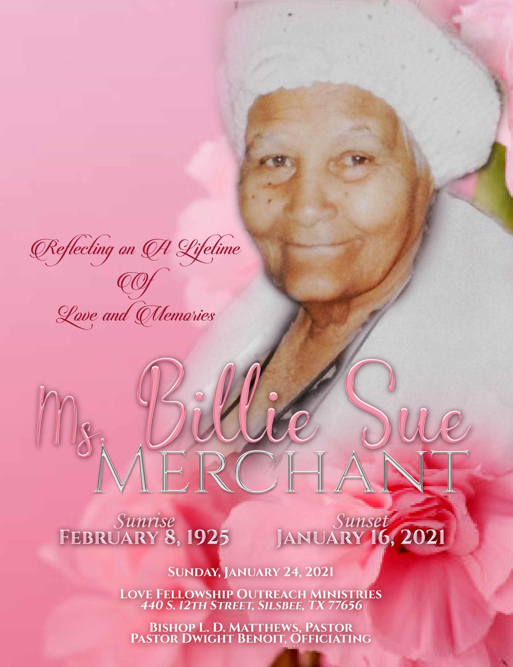 Billie Sue Merchant 1925 – 2021