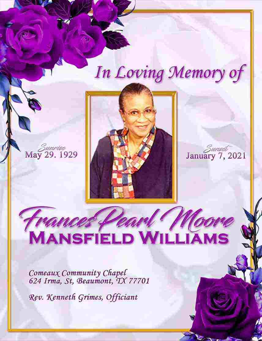 Frances Pearl Moore Williams 1929-2021